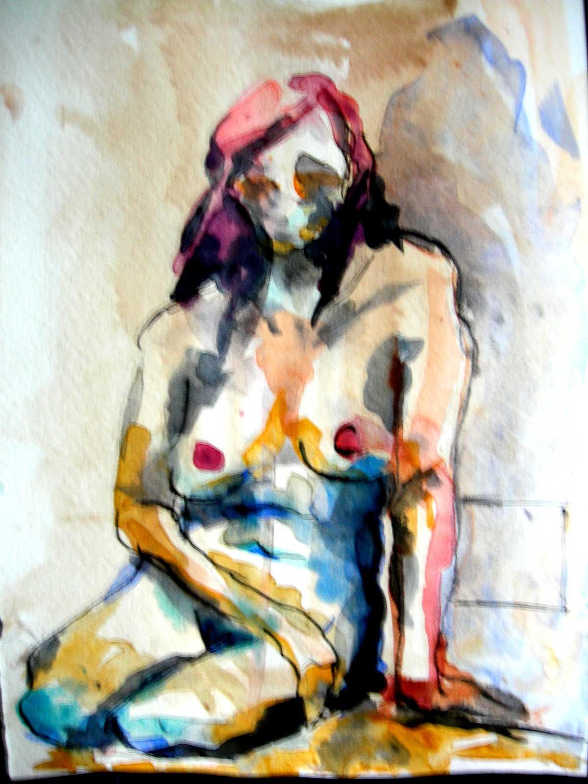 Desnudo acuarela