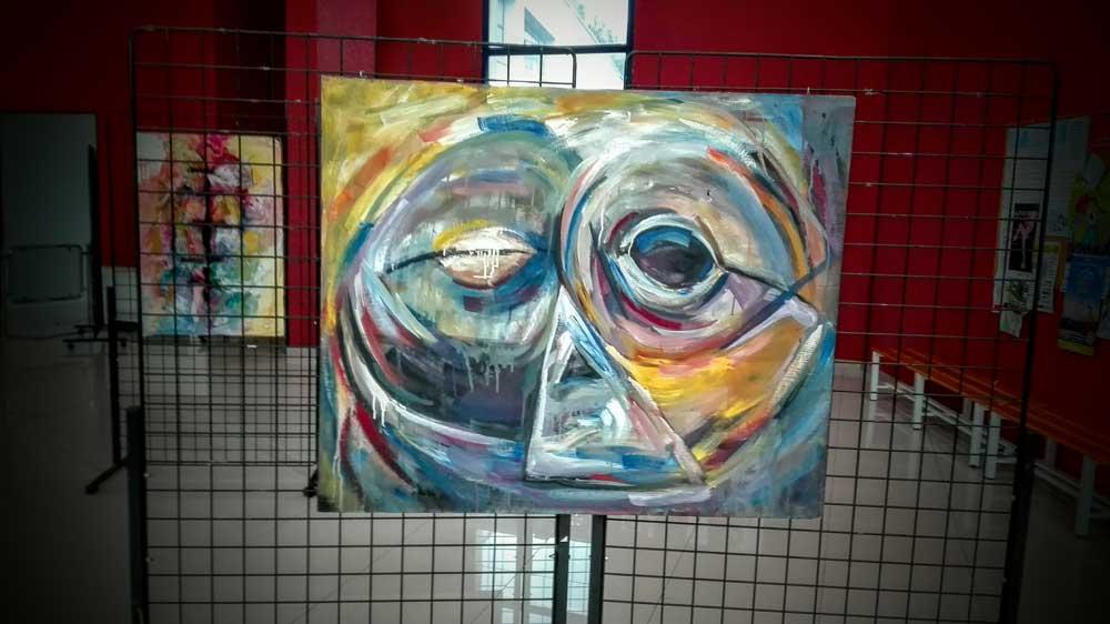 Obra pictórica que representa una máscara. La máscara del miedo. El bien y el mal, las decisiones.
